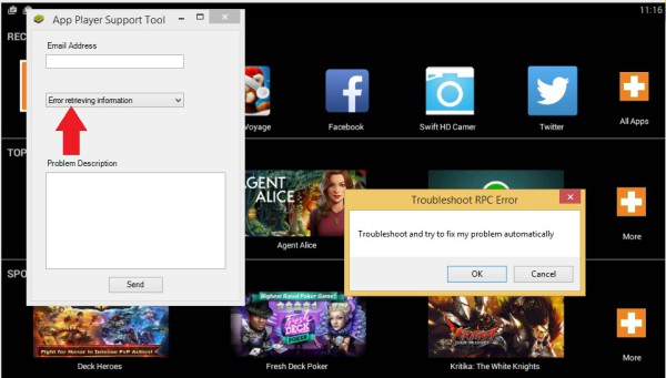 BlueStacks · Fix BlueStacks error retrieving information