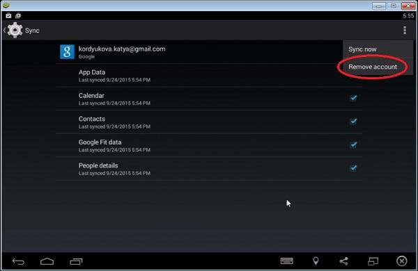 Server error BlueStacks correction by deleting Google account