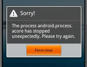 Error android.process.acore