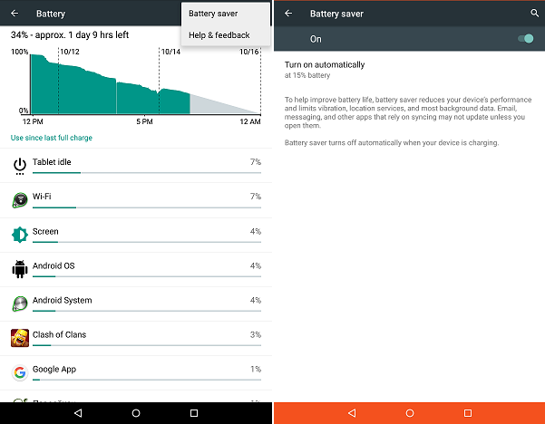 Android hidden features: 5.x Lollipop - Battery Saver