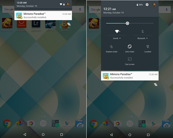 Notification panel Android 5 Lollipop