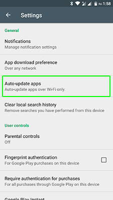 How to disable updates Android apps