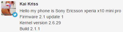 Sony Ericsson Xperia X10 Mini Pro update