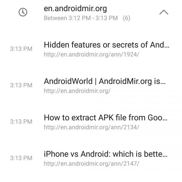 delete browsing history on android