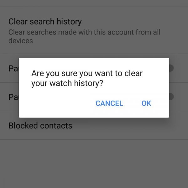 delete youtube search history