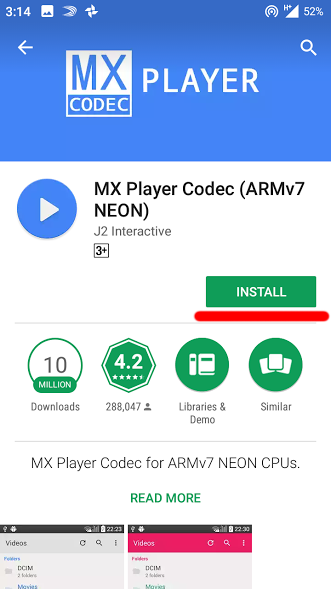 video will not play on android