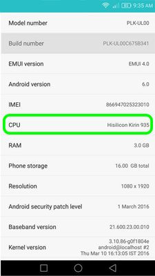 How to get processor info Android device