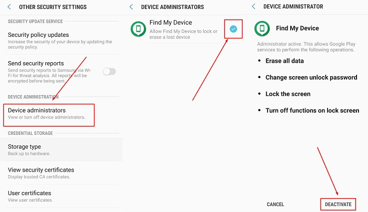 deactivate administrator permissions app android